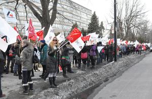 300 membres de l'Alliance étaient présents au piquetage entre 16 h et 19 h le 25 mars devant la CSDM.