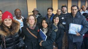 Une fois gonflés à bloc, les collègues d'Irénée-Lussier sont venus appuyer la présidente de l'Alliance lpour manifester leur colère jusqu'à la Place Riopelle.