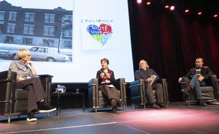 Pénélope McQuade a animé de main de maître le panel d'ouverture avec les invités Françoise David, Sylvain Mallette et Christian Vanasse.