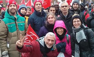 L'équipe de l'école Irénée-Lussier était mobilisée pour la manif. © Line Lamontagne