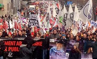 Les syndiqués de tous les secteurs de la fonction publique ont marché sur le boulevard René-Lévesque. © Yves Parenteau