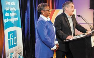 Régine Laurent, présidente de la FIQ, et Sylvain Mallette, président de la FAE, en conférence de presse.